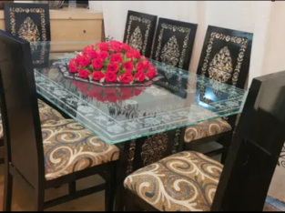 8chairs dining set in excellent condition visit in dha lahore