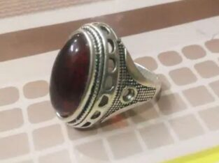 red stone ring ( silver)