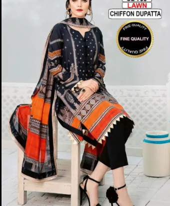 Lawn Embroidery suit with chiffon duppta