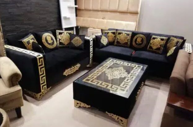 Sofa Versace Design Black Gold for sale in lahore
