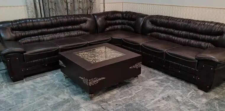 8 Seated Brown Lather Corner for sale in gujrawala
