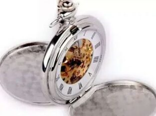 Silver Mechanical Pocket Watch for sale